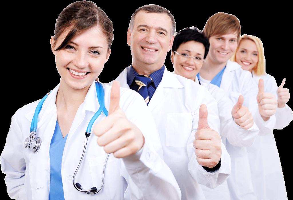 Grupo de médicos sonriendo con los pulgares levantados. Aprobando el Diplomado de Marketing Digital y Redes Sociales para el Sector Salud Guayoyo Marketing